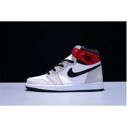 Air Jordan 1 Mid AJ1 Light Smoke Grey Herren Basketballschuhe Grey Weiß rot Turnschuhe 555088-126