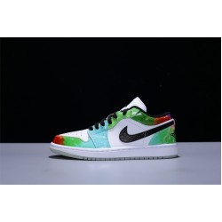 CW7310-909 Air Jordan 1 Low Multicolor Nike AJ1 Damen Basketballschuhe Grün Weiß
