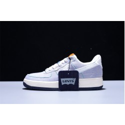 Levi x Nike Air Force 1'07 AF1 Low Herren Damen Turnschuhe Light Blue Weiß